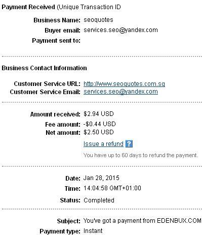 1º Pago de Edenbux ( $2,94 ) Edenbuxpayment