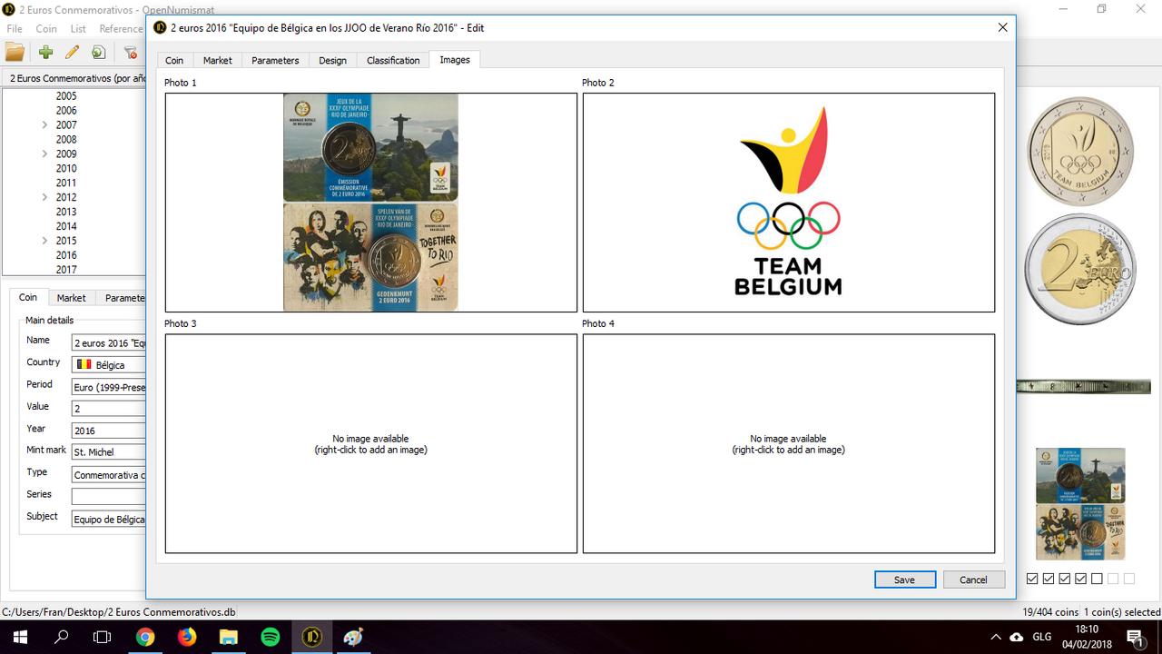 OpenNumismat: Base de datos de 2 euros conmemorativos Captura2