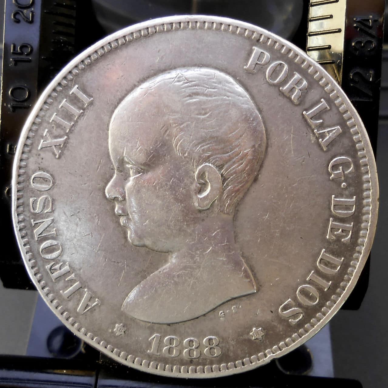 5 pesetas Alfonso XIII 1888 MPM. DSCN1453