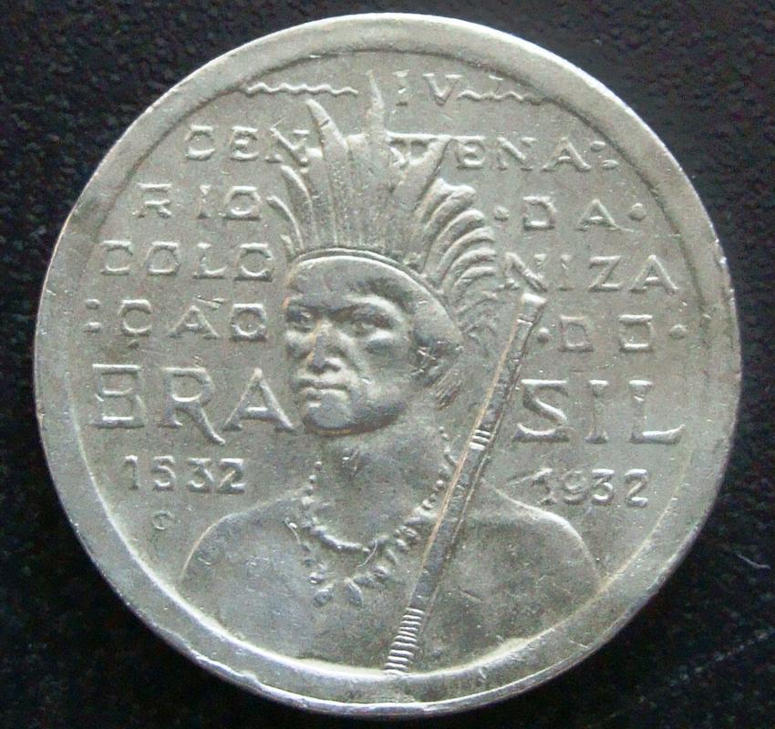 100 Reis. Brasil (1932) 4º centenario de la colonización del Brasil BRA._100_Reis_400_Aniversario_colonizaci_n_-_anv