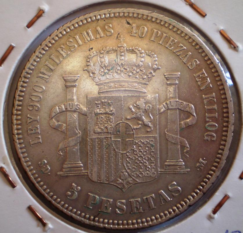 5 Pesetas 1871 SDM Amadeo I Variante Sin Punto en Kilo 006