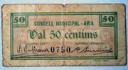 Billete Local 50 Céntimos de Avia Guerra Civil 001