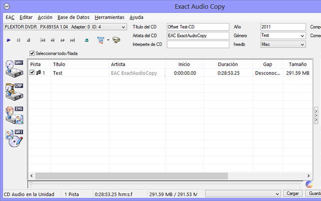 Como hacer una copia exacta de un CD de audio con EAC EAC004
