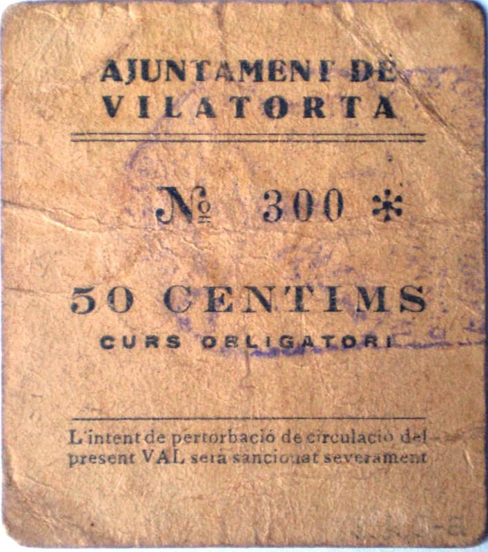 50 Centimos de Vilatorta Barcelona 1937 Guerra Civil  023
