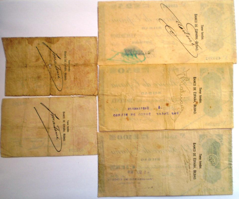 Serie Completa Banco de España Bilbao 1936 Guerra Civil 017