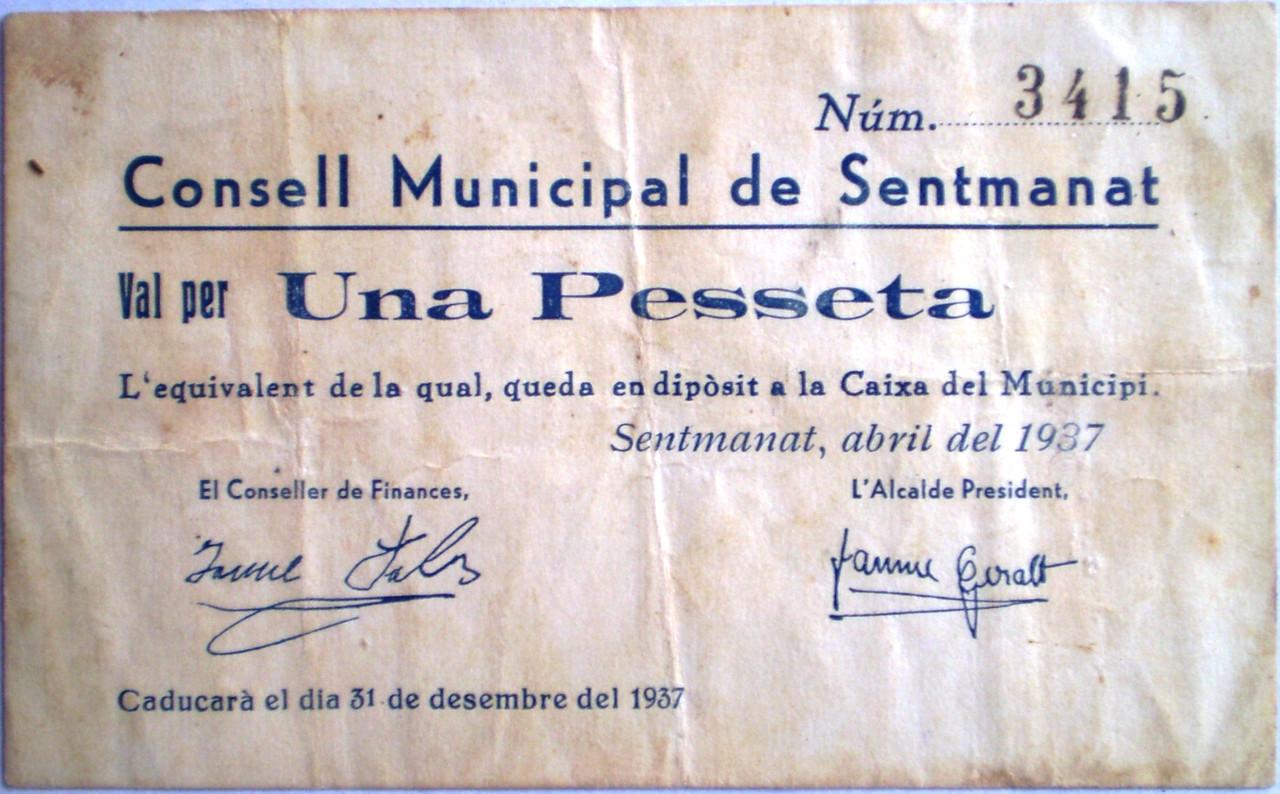 Una Peseta de Sentmanat 1937 Guerra Civil 003
