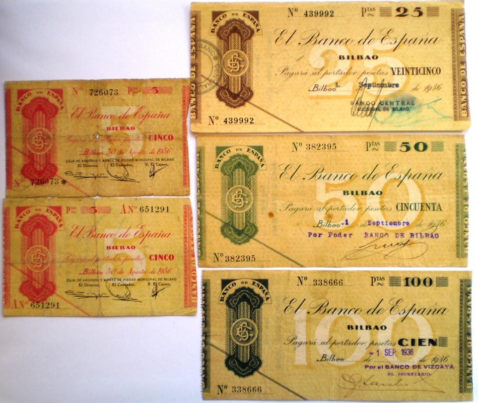 Serie Completa Banco de España Bilbao 1936 Guerra Civil 016
