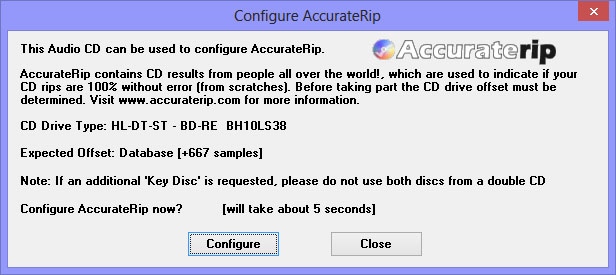Como hacer una copia exacta de un CD de audio con EAC Accurate_Rip