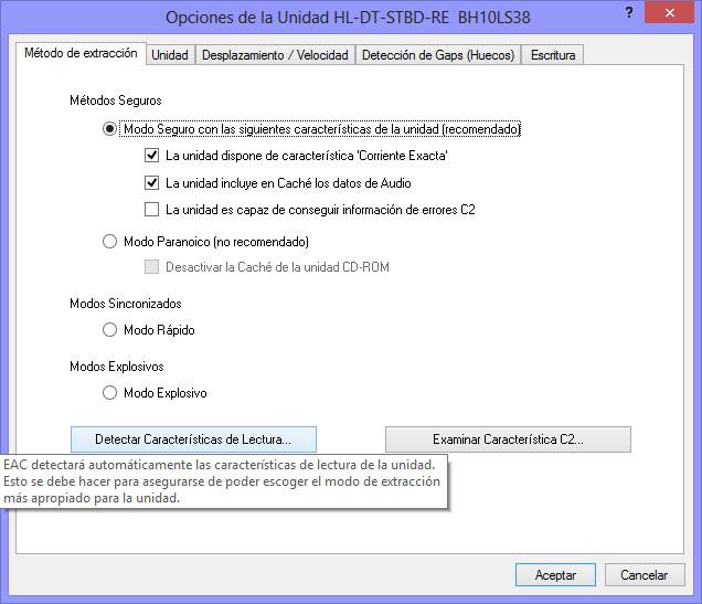 Como hacer una copia exacta de un CD de audio con EAC Corriente_Exacta