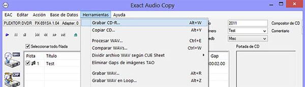 Como hacer una copia exacta de un CD de audio con EAC EAC00