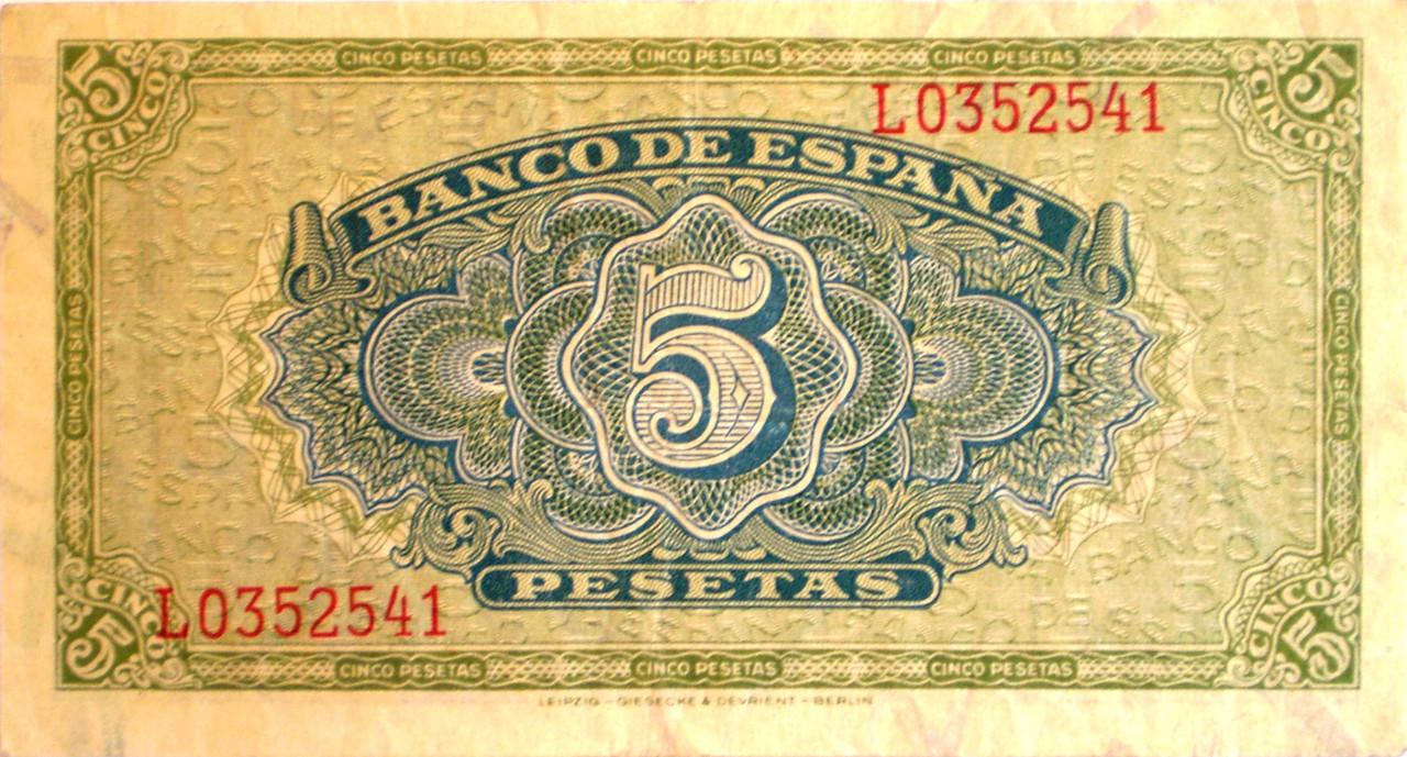 5 Pesetas 4 de Septiembre de 1940 013