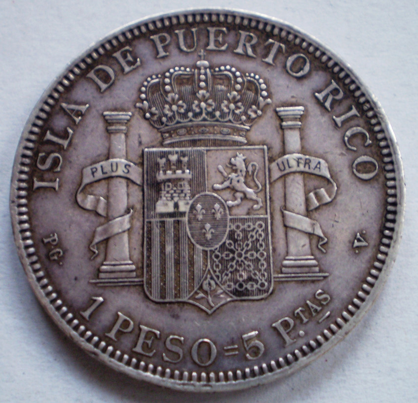 Peso 1895. PGV. Alfonso XIII. Isla de Puerto Rico. 010
