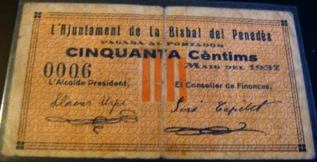 Billetes La Bisbal del Penedes (Guerra Civil) Bisbaldel_Penedes0_50_Anvers_R