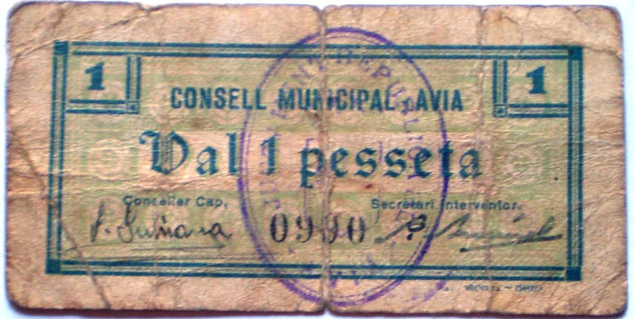 50 Céntimos y 1 Peseta de Avià (Barcelona) Serie Completa Guerra Civil 003