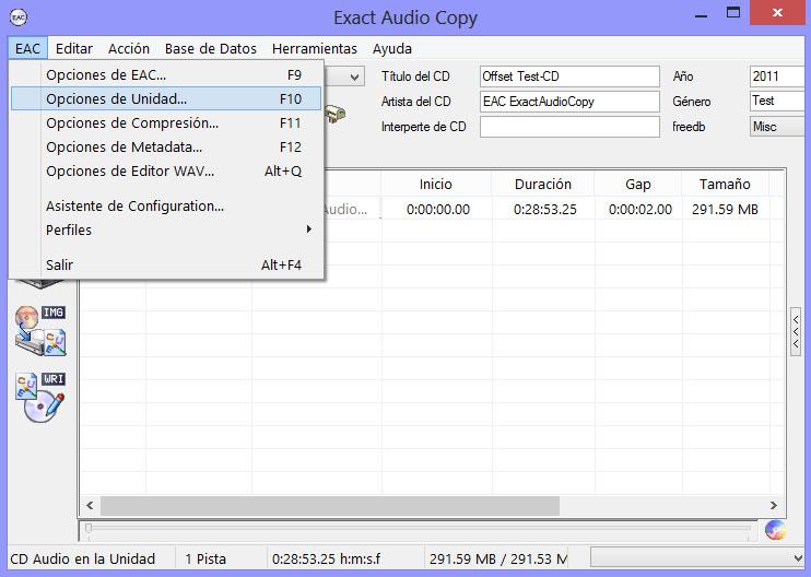Como hacer una copia exacta de un CD de audio con EAC EAC01