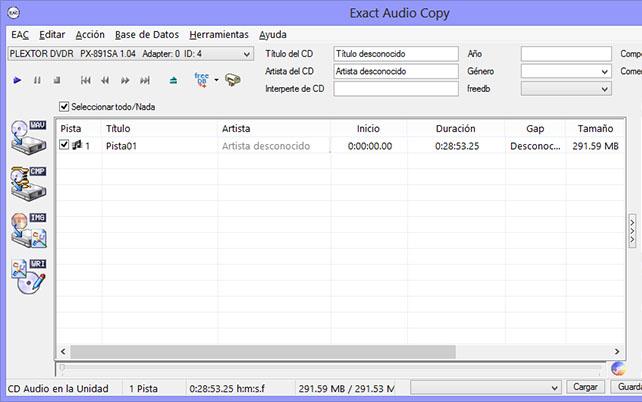 Como hacer una copia exacta de un CD de audio con EAC EAC001