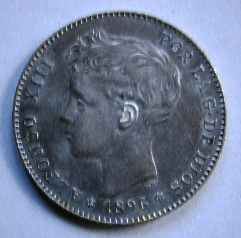 Alfonso XIII 1 Peseta 1896 * 96 P1010034