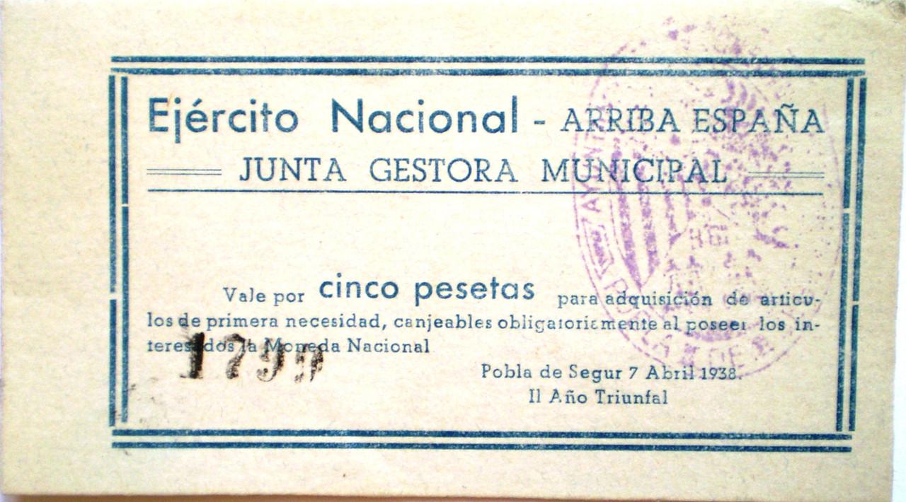 5 Pesetas Pobla de Segur Abril 1938 (Ejercito Nacional) 001