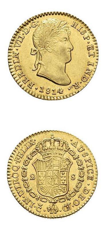 2 Escudos. Fernando VII 1814 CJ/CI. Ceca de Cádiz Foto_Subasta