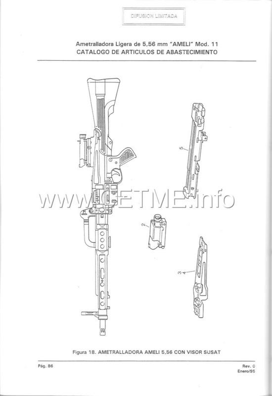 MT7-606 MANUAL TECNICO - CATALOGO DE PIEZAS. AMETRALLADORA LIGERA 5,56 mm, mod. 11 Manual_Tecnico_AMELI_mod11_pp086