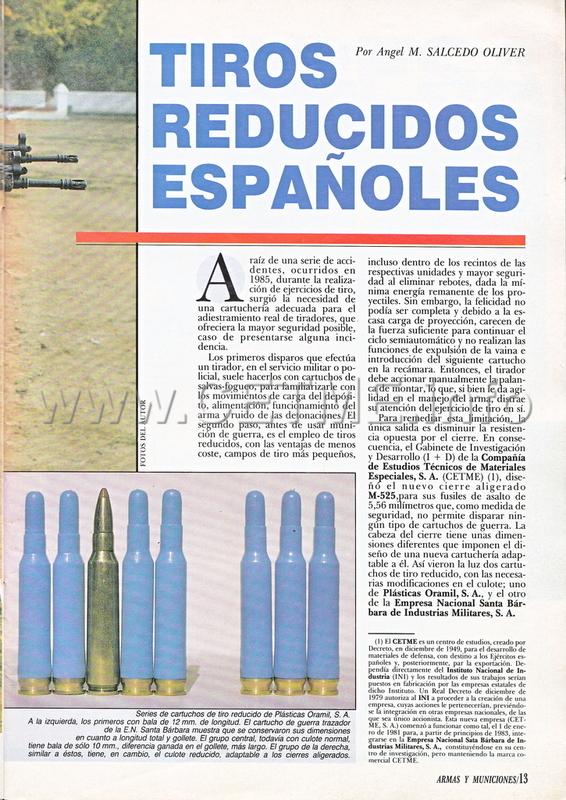 Cartuchos de Tiro Reducido españoles. Revista Armas y Municiones número 34 A_M_034_pp013