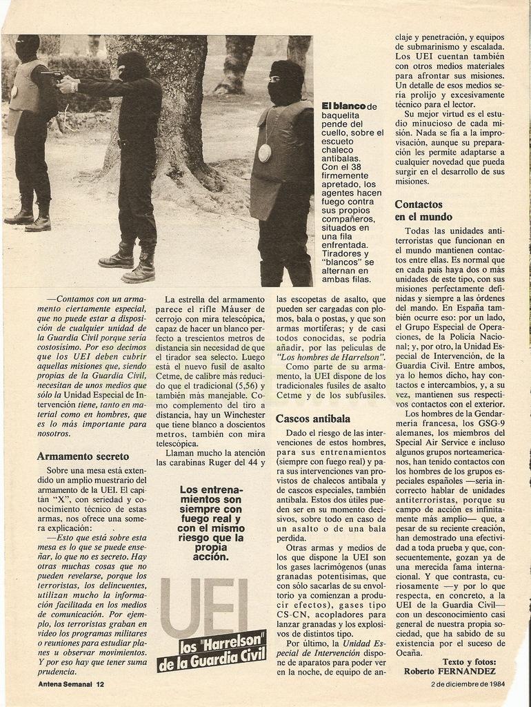"UEI - Los ""Harrelson"" de la Guardia Civil. Antena Semanal, 02 Diciembre 1984 Antena_Semanal_021284_pp012"