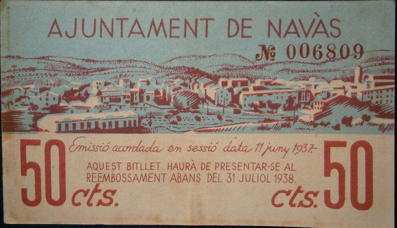 50 Céntimos Ajuntament de Navàs, 1937 (Barcelona - Guerra Civil) 068