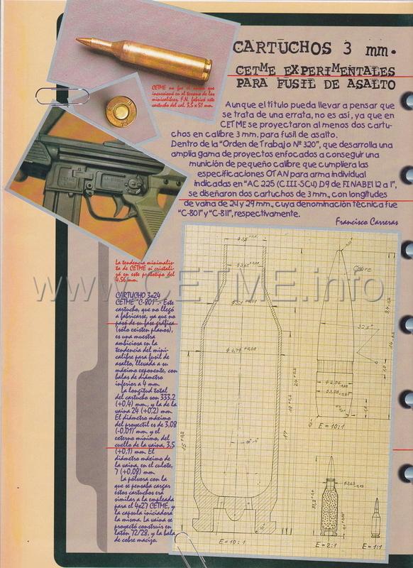Cartuchos 3 mm. CETME experimentales. ARMAS_171_Ago1996_pp056