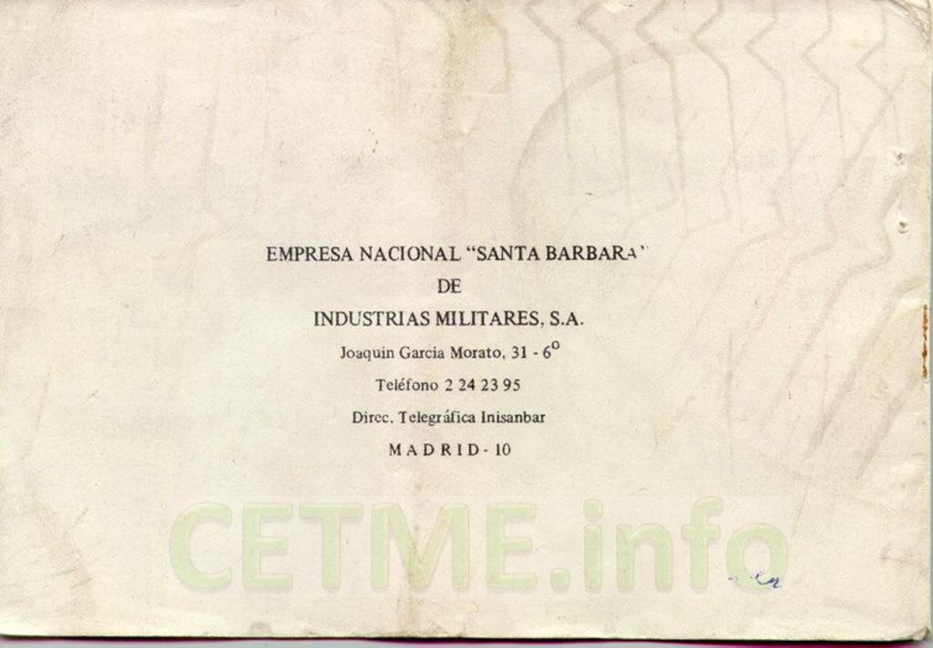 """Manual CETME C """"Santa Bárbara"""" 1º Modelo. Manual_p40_Contratapa"""