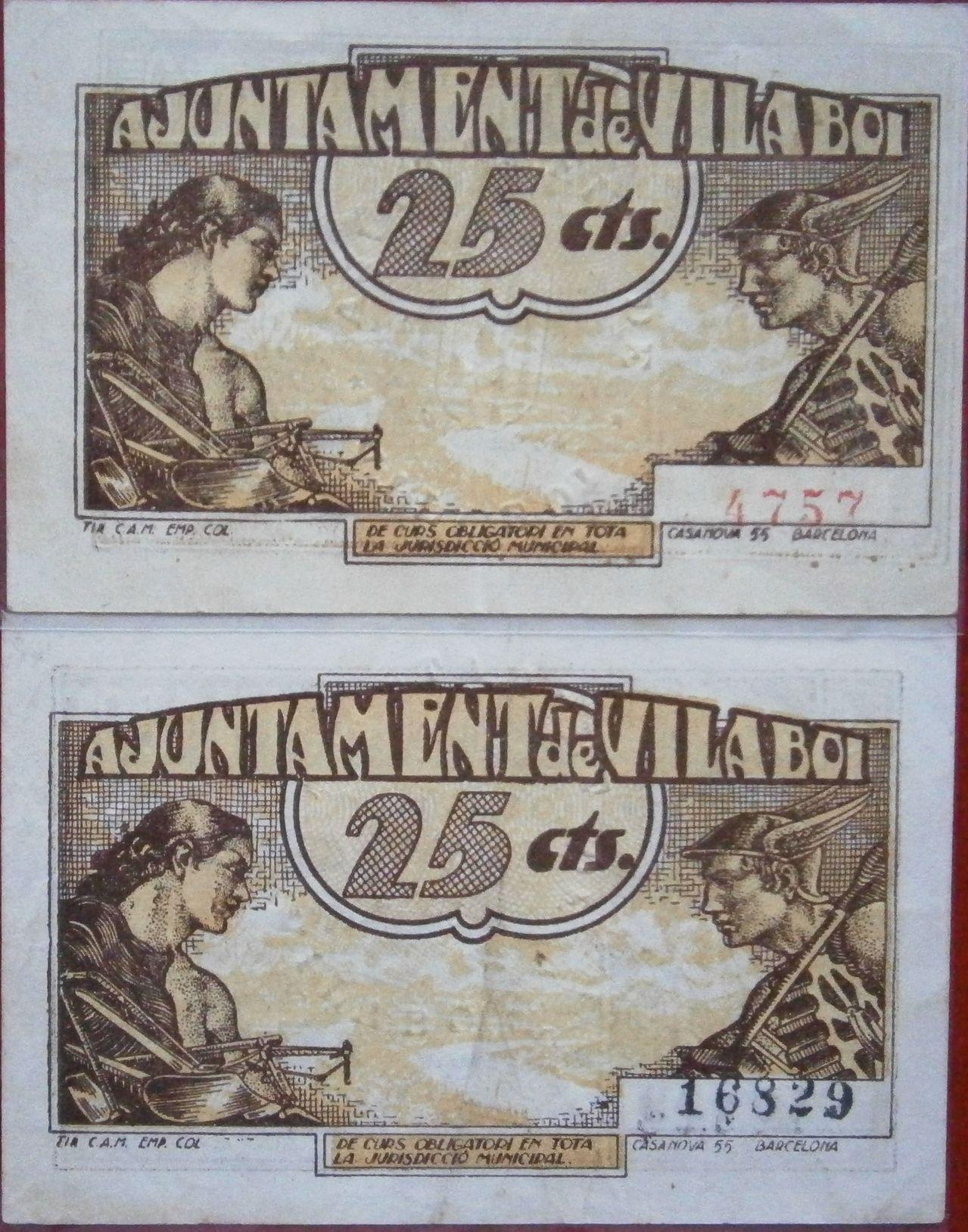 Vilaboi Sant Boi de LLobregat 25 Centimos 1937 Guerra Civil  P1010020