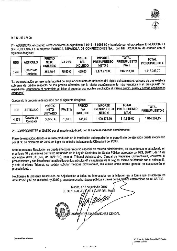Noviembre de 2014 - Diciembre de 2016. Nuevo casco de combate para el Ejército español. DOC20160614082309080_RESOLUCION_PLATAFORMA_Adqui
