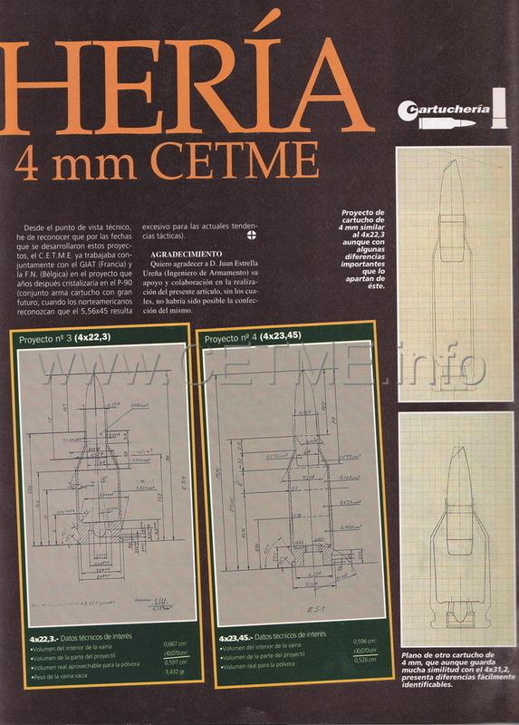 Cartuchería 4 mm. CETME experimentales. ARMAS_178_Mar1997_pp061