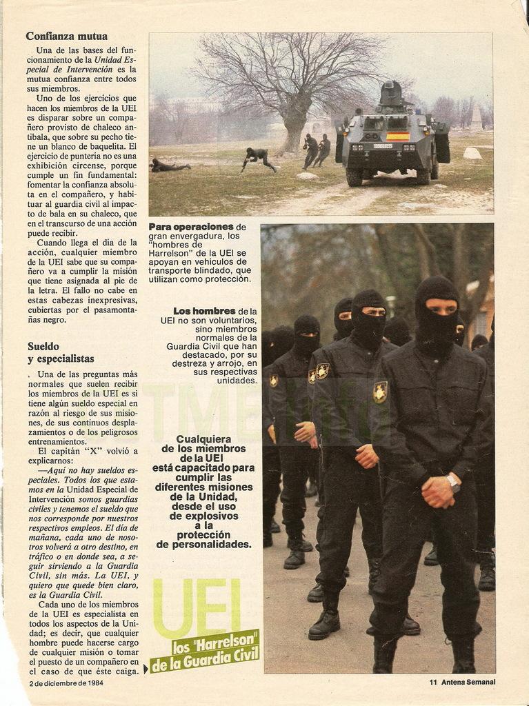 "UEI - Los ""Harrelson"" de la Guardia Civil. Antena Semanal, 02 Diciembre 1984 Antena_Semanal_021284_pp011"
