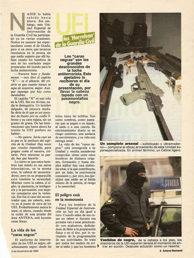 "UEI - Los ""Harrelson"" de la Guardia Civil. Antena Semanal, 02 Diciembre 1984 Antena_Semanal_021284_pp009"