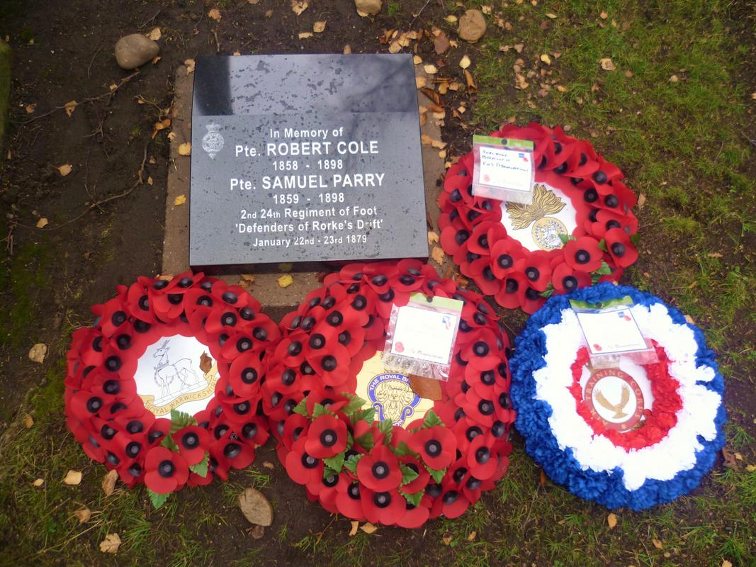 29th November 2015. Sgt Joseph Windridge,Pte Robert Cole, Pte Samuel Parry. Defenders of Rorke's Drift - Memorial's Witton Cemetery  Birmingham   Pte._R._Cole_Pte._S._Parry_2nd_Btn_24th_2nd_Warwickshire