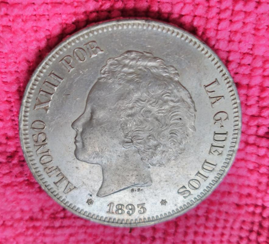 5 pesetas 1893. Alfonso XIII. PG L IMG_20180616_104005