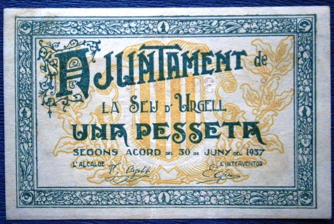 """1 Peseta de la Seu d´Urgell """"Lerida"""" Guerra Civil P1010024"""