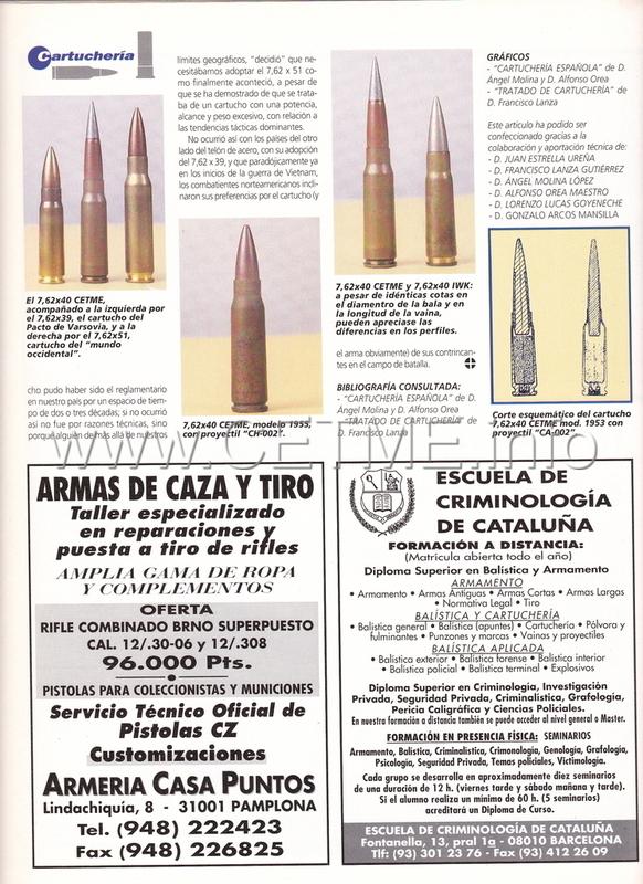 7'62x40 CETME. Evolución del cartucho 7'92x40. ARMAS_164_Ene1996_pp034