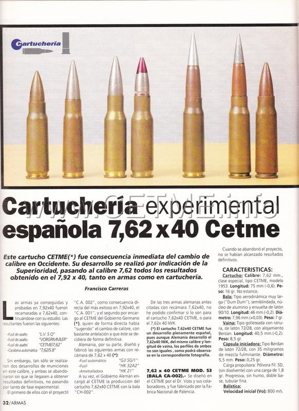 7'62x40 CETME. Evolución del cartucho 7'92x40. ARMAS_164_Ene1996_pp032