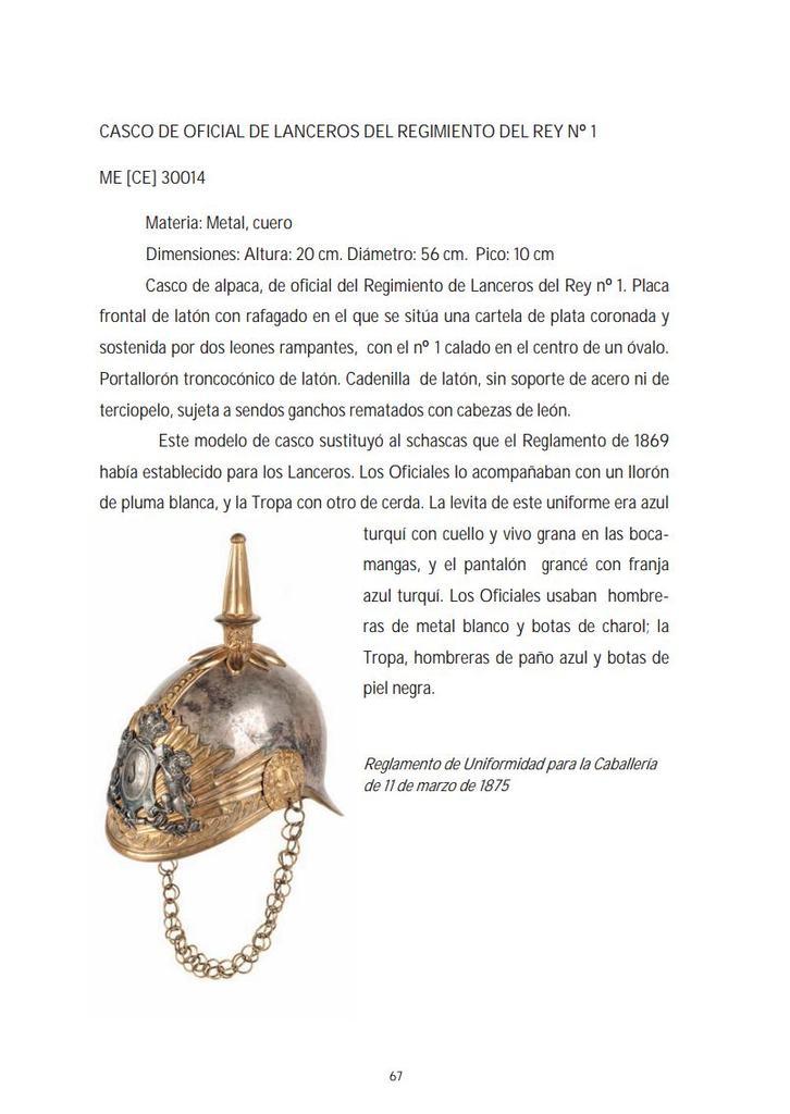 """casco - Casco Mod. 1875 de Oficial de Lanceros del Regimiento Nº1 """"del Rey"""". Catalogo_Prendas_Cabeza_Museo_del_Ejercito_pp6"""