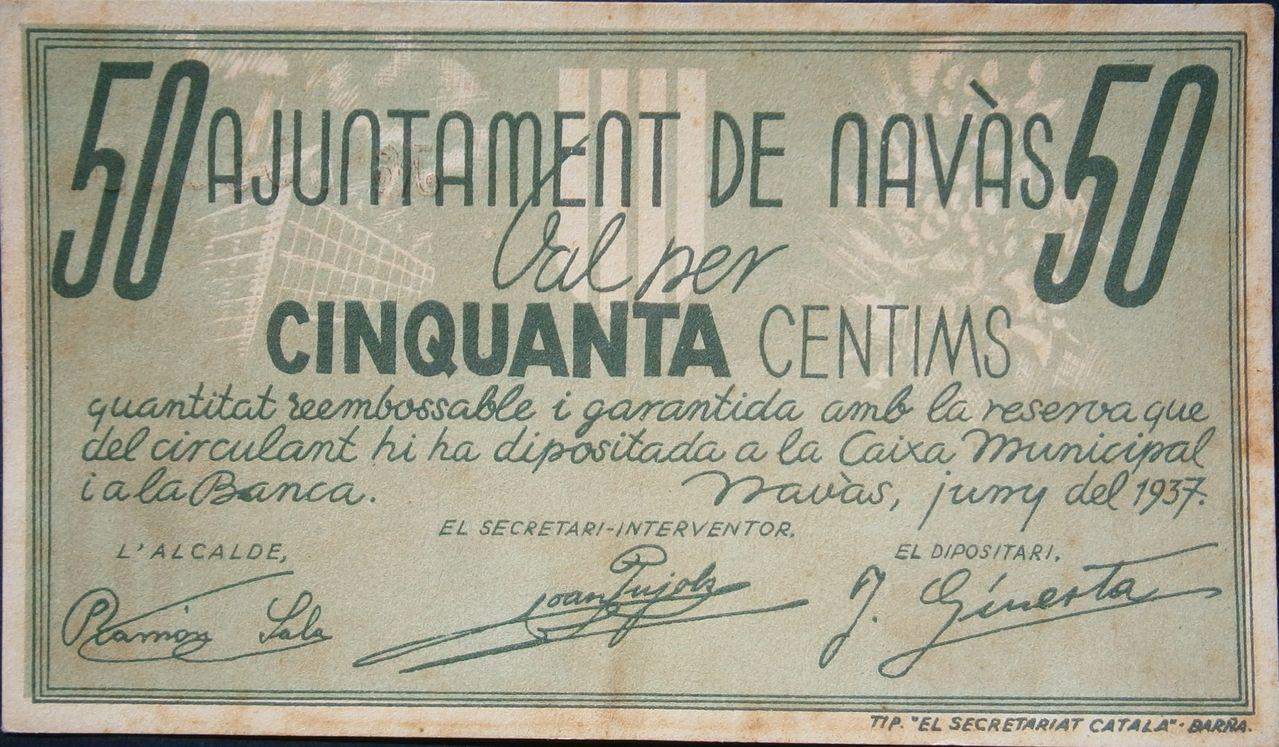 50 Céntimos Ajuntament de Navàs, 1937 (Barcelona - Guerra Civil) 067