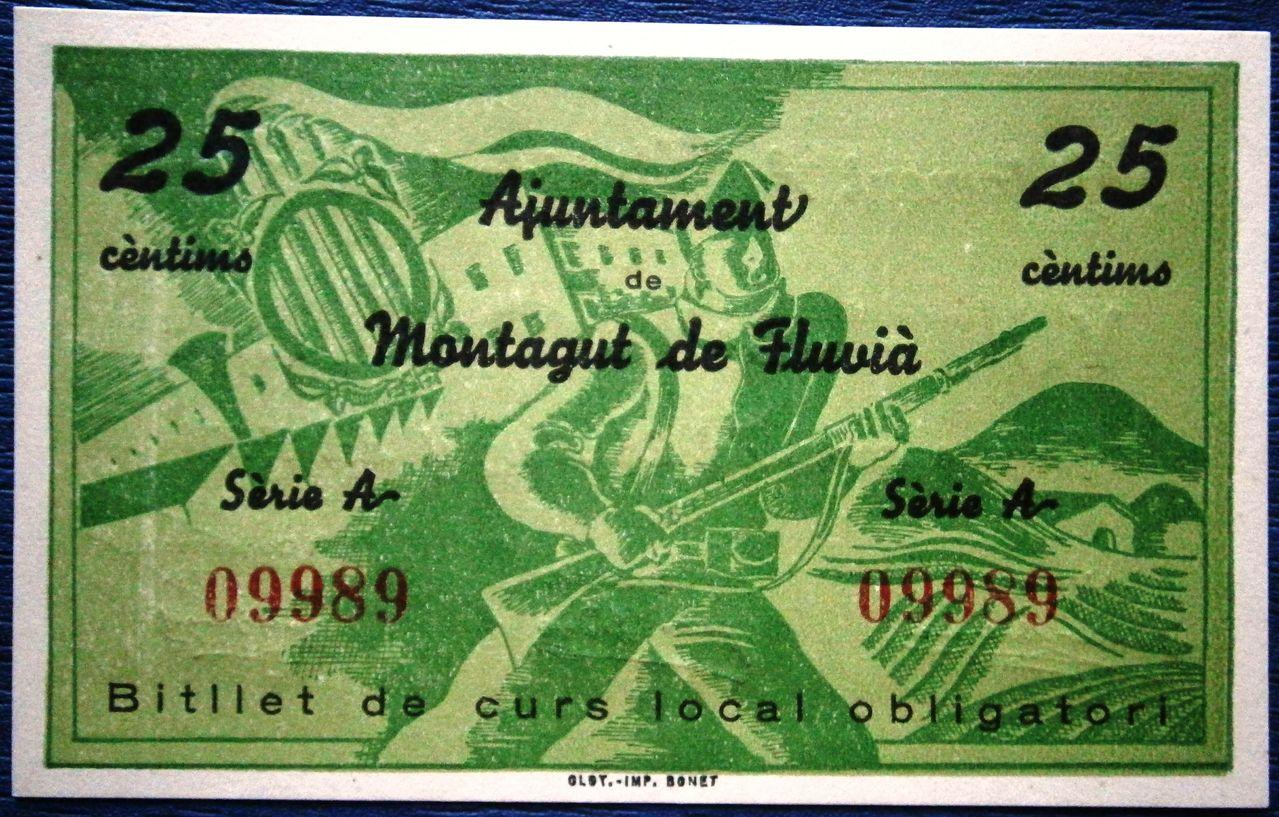 Montagut de Fluvia 25 Centimos 1937 Guerra Civil  P1010037