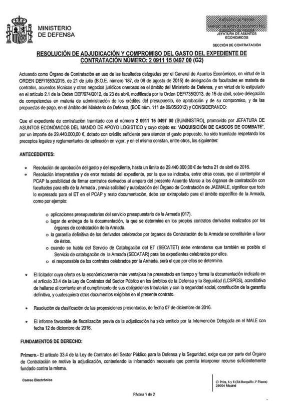 español - Noviembre de 2014 - Diciembre de 2016. Nuevo casco de combate para el Ejército español. - Página 2 20161214_DOC20161214083440080_adjudicacionjpg_Pa