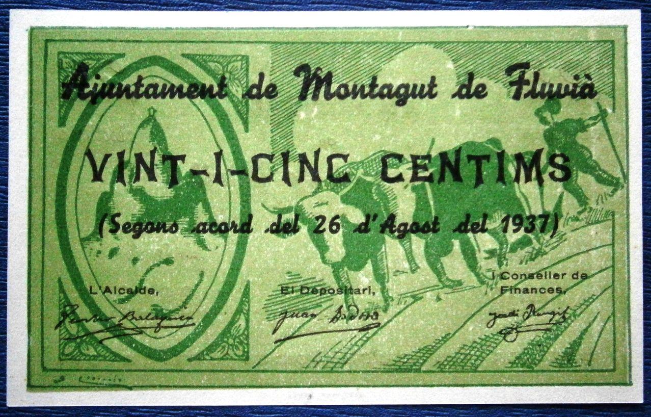 Montagut de Fluvia 25 Centimos 1937 Guerra Civil  P1010036
