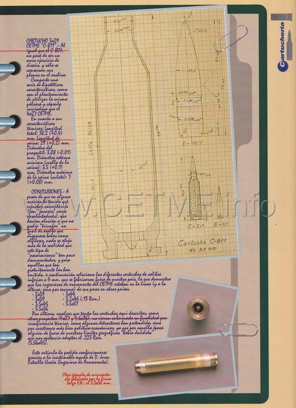 Cartuchos 3 mm. CETME experimentales. ARMAS_171_Ago1996_pp057