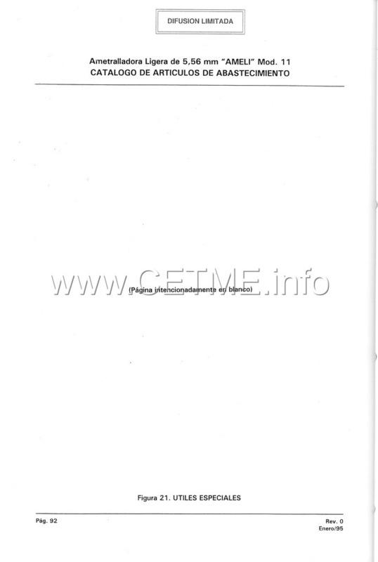 MT7-606 MANUAL TECNICO - CATALOGO DE PIEZAS. AMETRALLADORA LIGERA 5,56 mm, mod. 11 Manual_Tecnico_AMELI_mod11_pp092