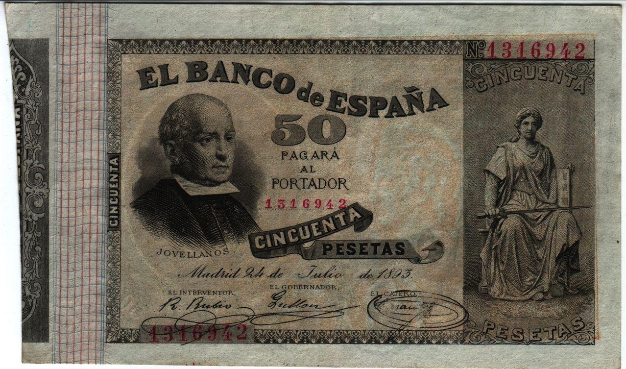 50 Pesetas 1893 Spain_P43a