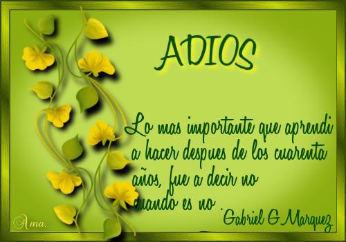 Hojas con Frase ADIOS