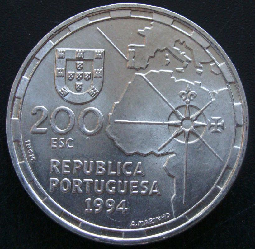 200 Escudos. Portugal (1994) Partición del mundo POR._200_Escudos_500_Aniversario_Partici_n_del_Mundo_-_anv