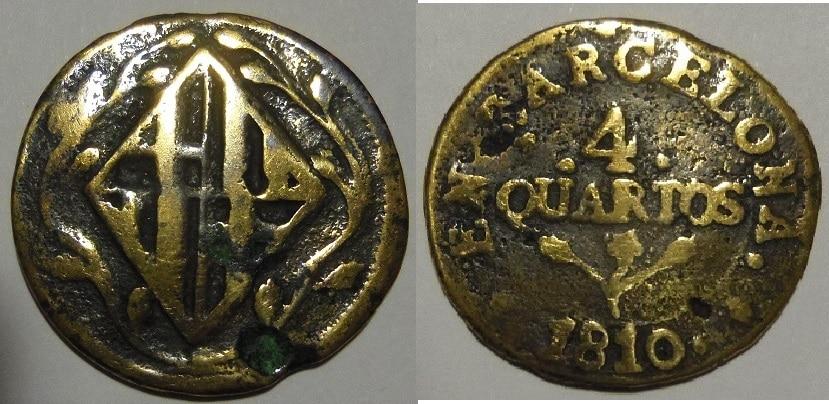 4 Cuartos. José Napoleón. 1810. Barcelona.  IMGP3432
